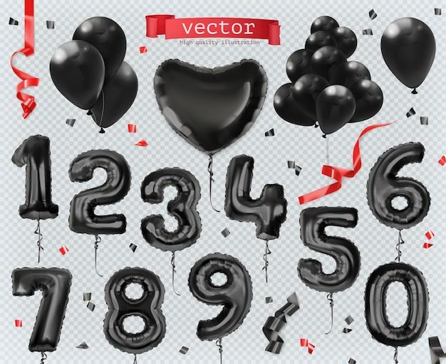 검은 장난감 풍선. 블랙 프라이데이, 세일, 쇼핑, 매진. 프리미엄 벡터