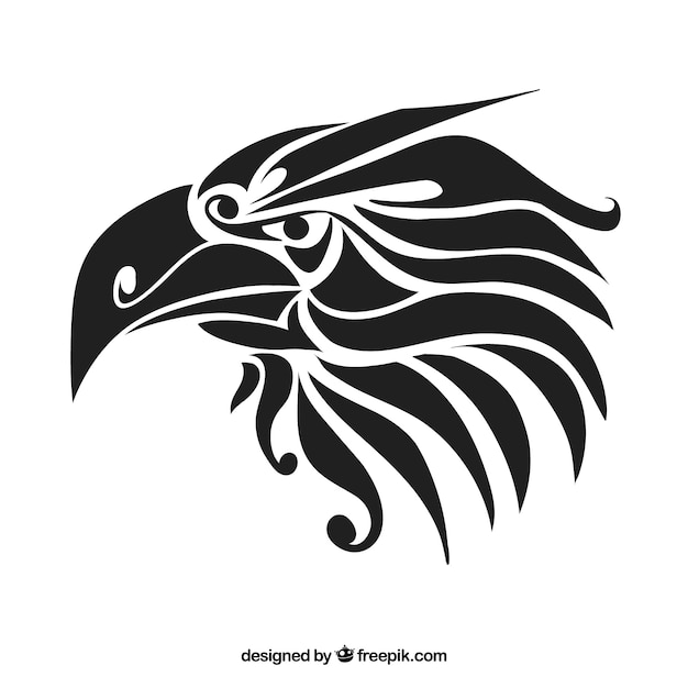 Black tribal eagle vector tattoo Free Vector
