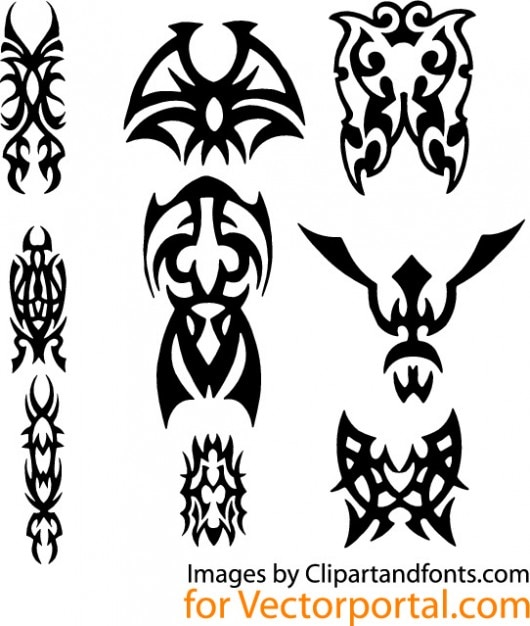 Tattoo Designs Vector Free Download: Black Tribal Tattoo Graphic Design Vector