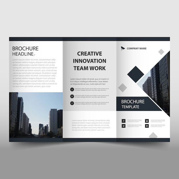 black trifold leaflet template free vector