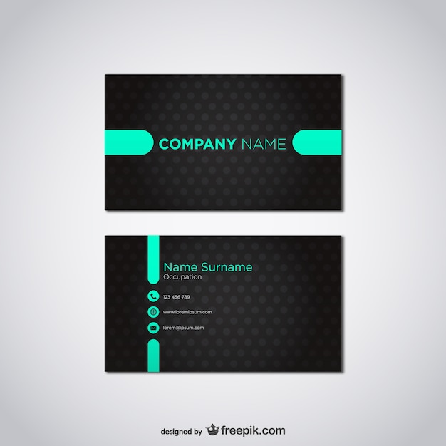 Black and turquoise business card Free Vector