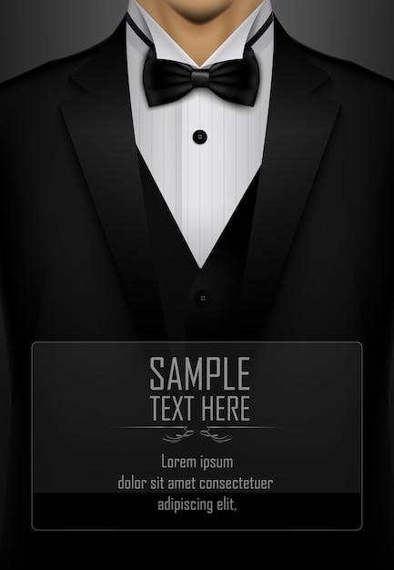 Black tuxedo with black bow tie background Premium Vector