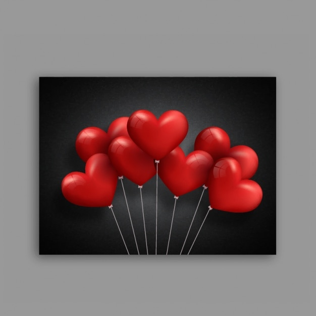 black valentine s card with red heart shaped balloons vector