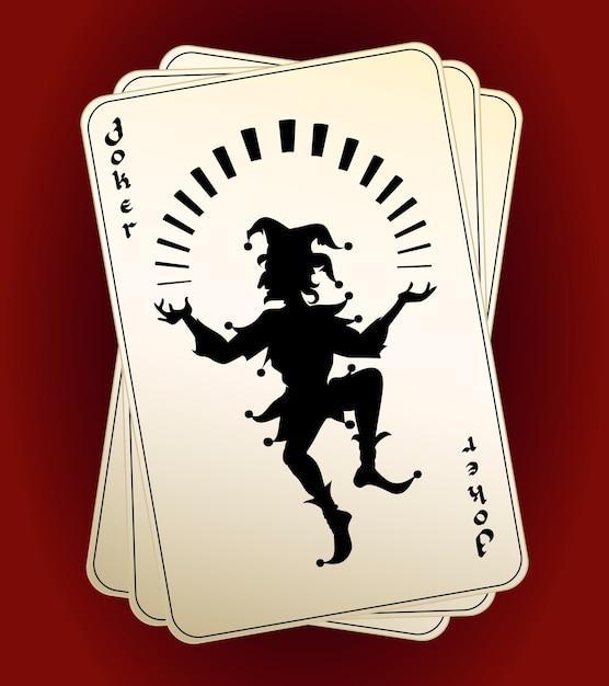 Черный векторный силуэт джокера на руке или колоде игральных карт, обозначенных как высший козырь или дикая карта, концептуальная азартных игр и удачи в казино Бесплатные векторы