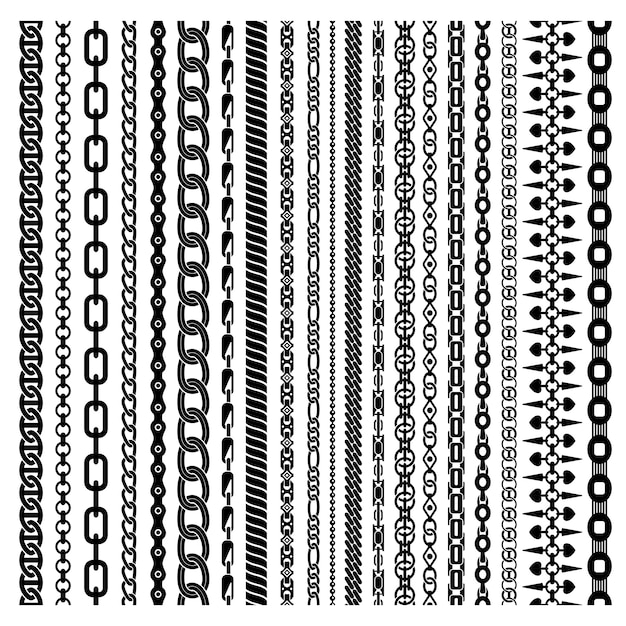 Black vertical chains set Free Vector
