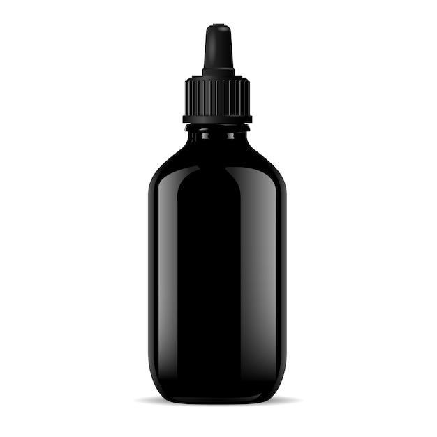 Black vial dropper cap. medical, cosmetic product Premium Vector