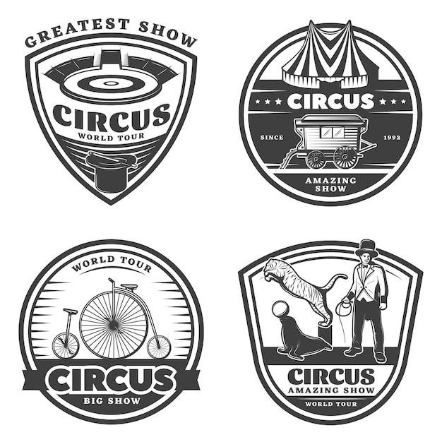 Набор черный старинный цирк эмблемы Бесплатные векторы