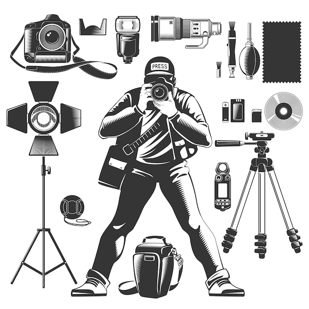 Black vintage photographer icon set with man and equipments elements for work Free Vector