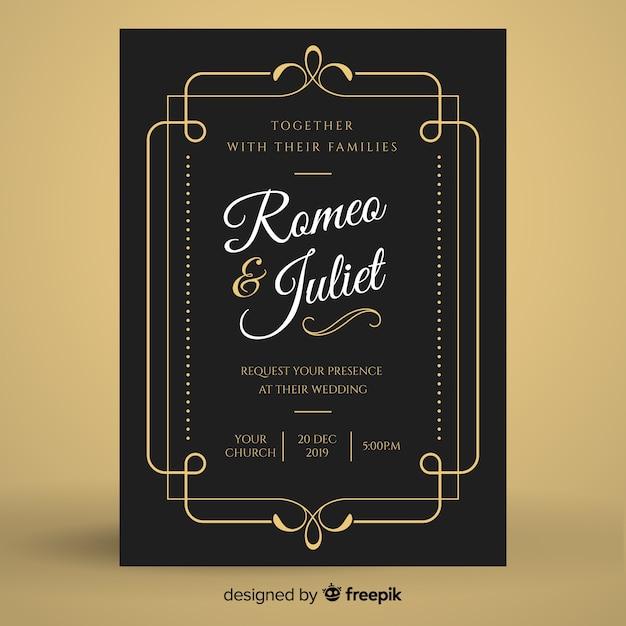 Black vintage wedding invitation template Free Vector