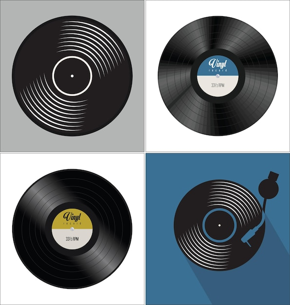 Черный виниловый диск с плоской концепцией фона Premium векторы