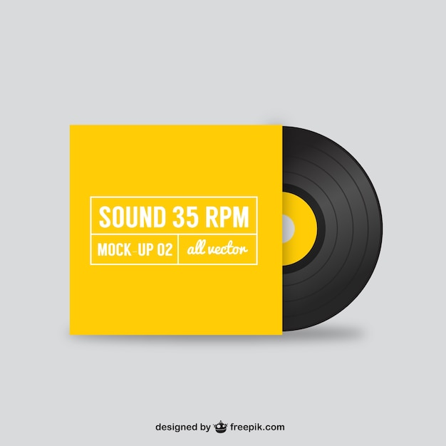 black vinyl record in yellow cover vector free download. Black Bedroom Furniture Sets. Home Design Ideas
