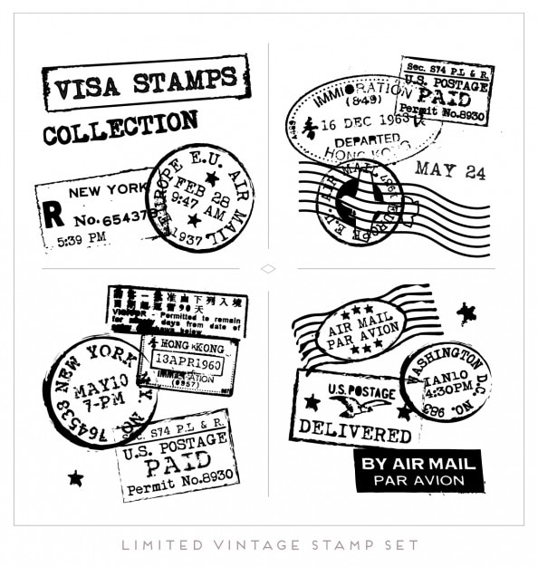 Black visa stamps collection Free Vector