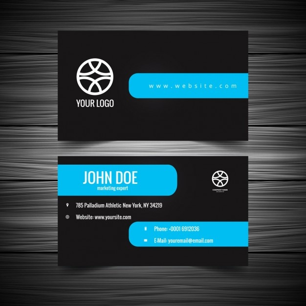 Black Visiting Card With Blue Shape Vector Free Download