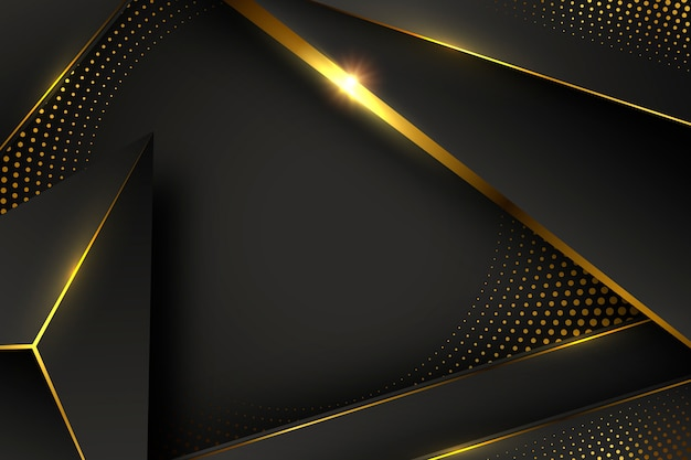 Black wallpaper with shapes and golden elements Free Vector