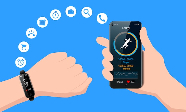 Black watch on your hand and smart phone, mobile fitness app with running tracker and heart rate meter, healthy lifestyle concept, realistic Premium Vector