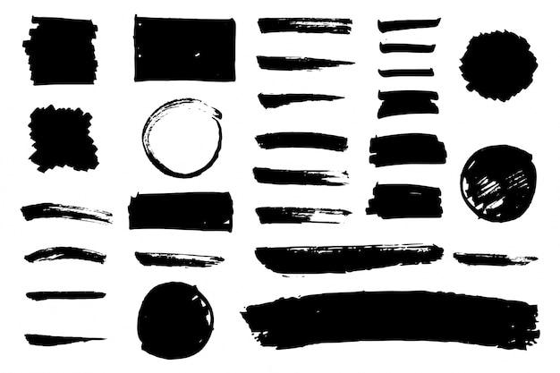 Black watercolor brus stroke collection Free Vector