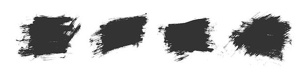 黒の水彩ブラシストロークテクスチャセットデザイン 無料ベクター