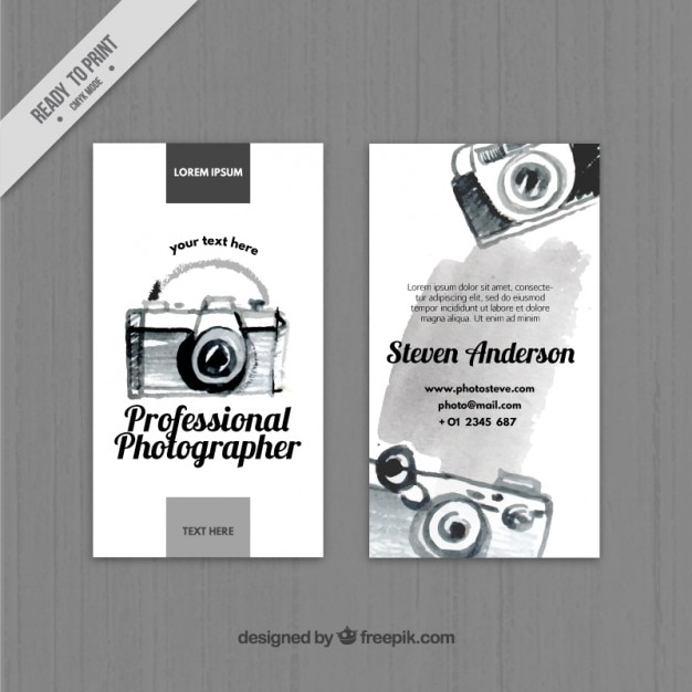 Black Watercolor Camera Business Card Free Vector