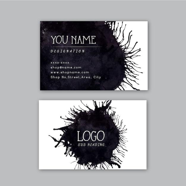 Black watercolor design business card Free Vector