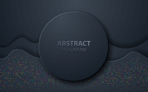 Black wave abstract realistic decoration Premium Vector