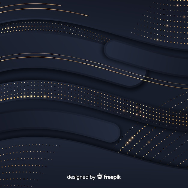 Black waves background with halftone effect Free Vector