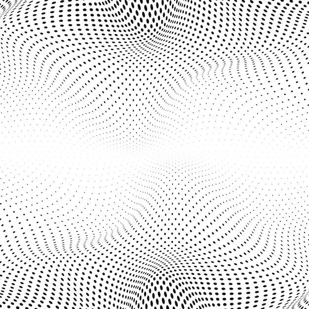 白い背景のベクトルに黒い波打つハーフトーン 無料ベクター