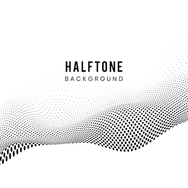 Black wavy halftone on white background vector Free Vector