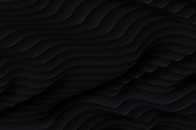 黒の波状の形の背景 無料ベクター