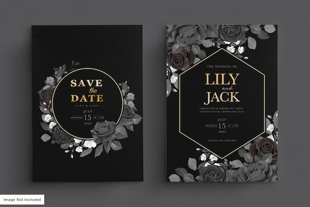 Black wedding card set with dark floral Free Vector