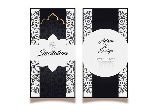 Black Wedding Invitation Card Vector Premium Download