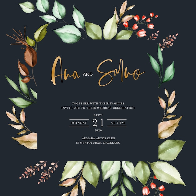 Black wedding invitation template with watercolor floral leaves Premium Vector