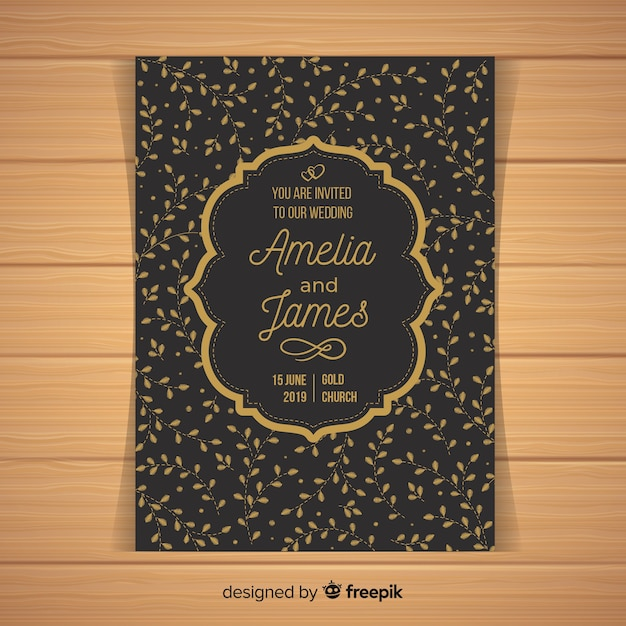 Black wedding invitation template Free Vector