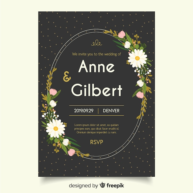 Black Wedding Invitation With Flat Design Template Vector