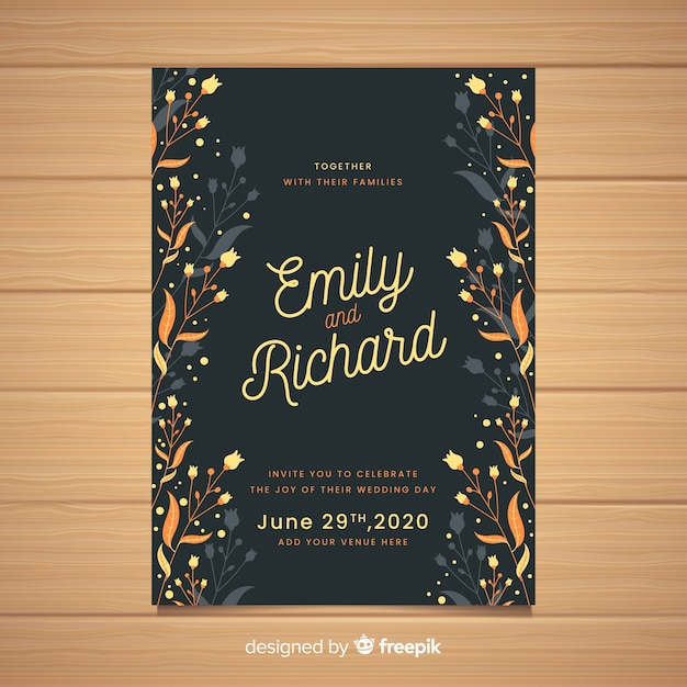 Black wedding invitation with floral frame Free Vector