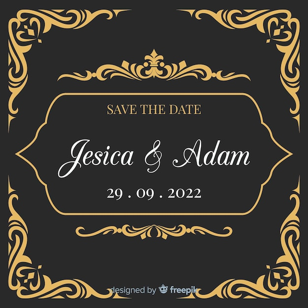 Black wedding invitation with golden ornaments Free Vector