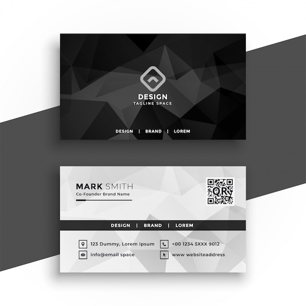 Black and white abstract business card design Free Vector