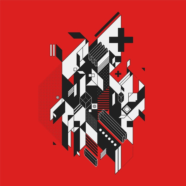 Black And White Abstract Design On Red Background Vector Free Download