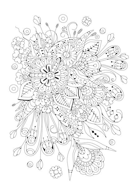 黒白の抽象的な花。着色のための垂直ページ。 Premiumベクター