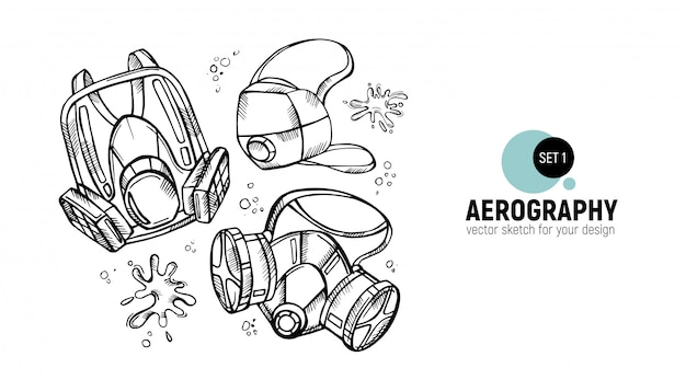 Black and white aerography tools Premium Vector