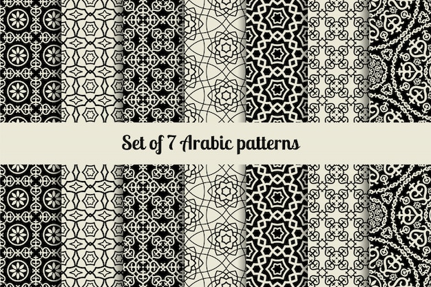 Black and white arabic style patterns Premium Vector