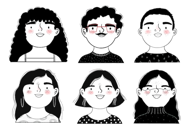 Black and white avatars of people Free Vector