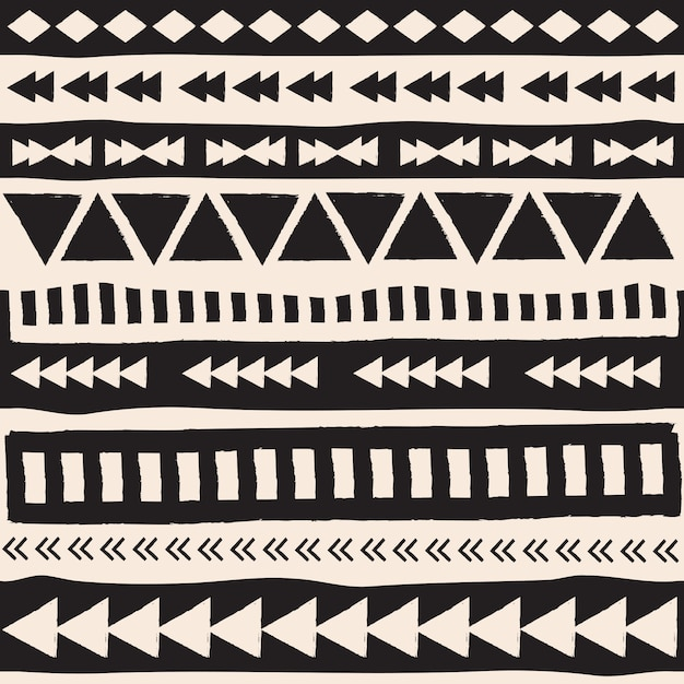 Black and white aztec elements Free Vector