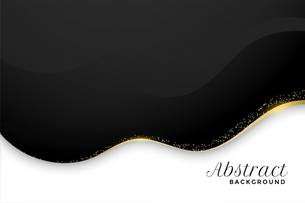 Black and white background in wavy style with golden sparkle Free Vector