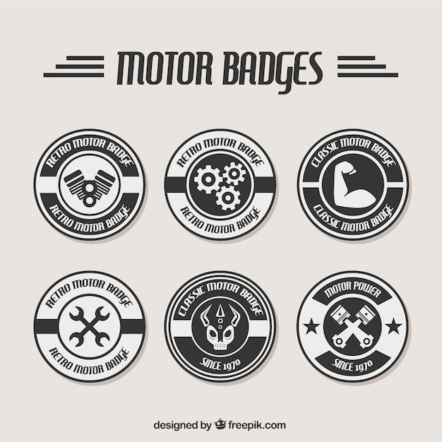 Black and white badges for repair shops Vector | Free Download