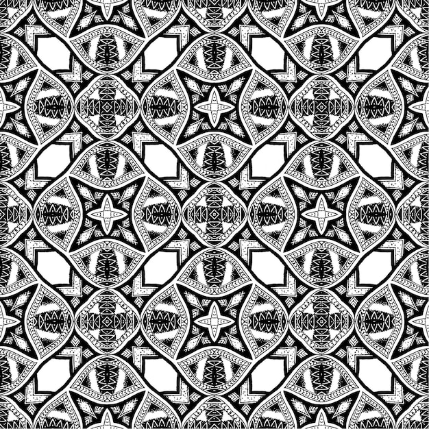 Black And White Batik Pattern Background Vector