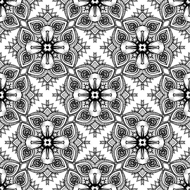 Black And White Batik Pattern Background