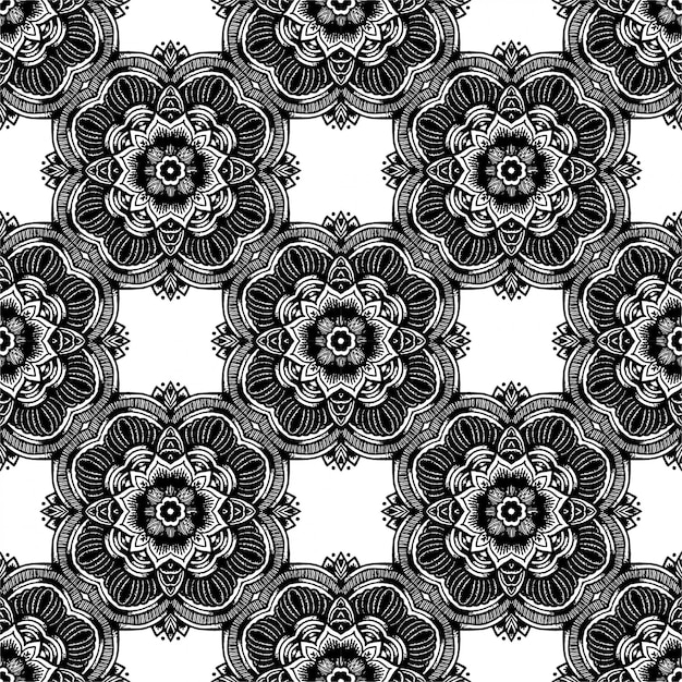 Black And White Batik Seamless Pattern, Batik Indonesian