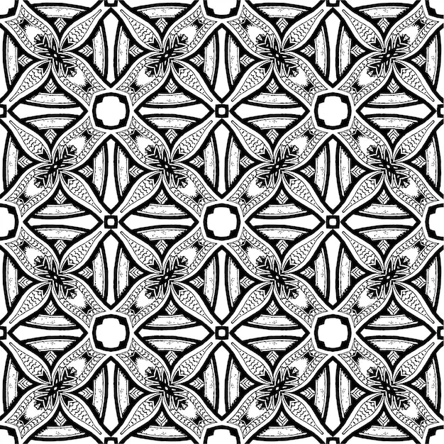Black and white batik seamless pattern, batik indonesian is a technique of wax-resist dyeing applied to whole cloth Premium Vector