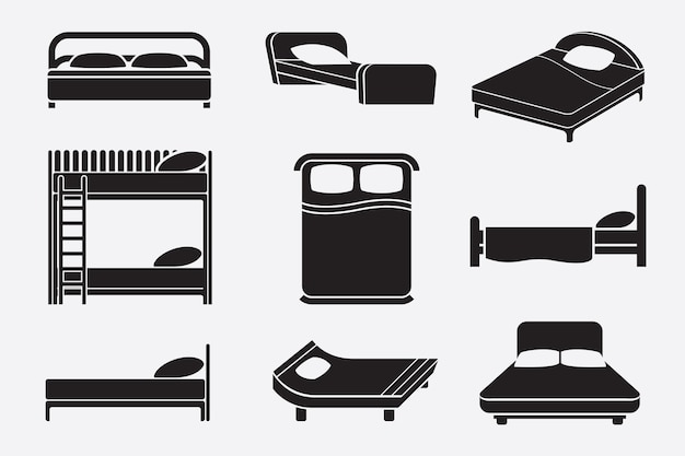 Black and white beds set Free Vector