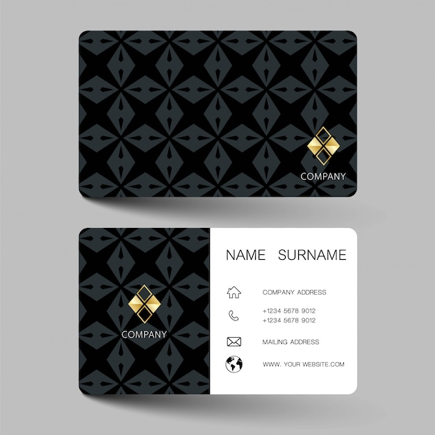 Black and white business card design. Premium Vector